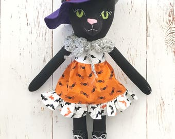 Black Cat doll: halloween witch cat with orange dress and purple hat