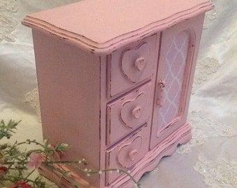 Jewelry Box Armoire  Shabby Chic Wood Handpainted Pink  Jewelry Storage Box