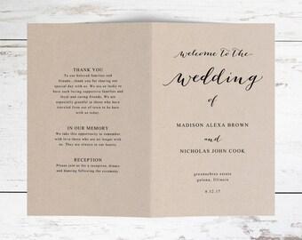 Folded Wedding Program Template, Rustic Wedding Program Template, Caligraphy wedding Program Template, Edit Yourself in MS word