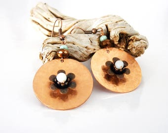 rustic earrings copper hammered flower, faceted beads, metal, amazonite beads
