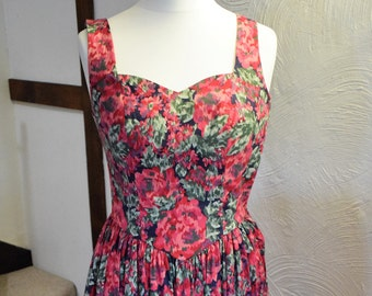 Vintage Laura Ashley floral print summer midi dress, UK size 10