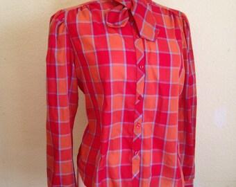 Vintage Secretary Blouse in Orange Check. 1980s Retro Tie Neck Blouse