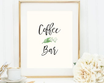 Printable Greenery Coffee Bar Poster (2 versions)
