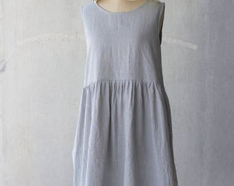Gathered waist dress in handwoven checks / Small blue checks with hints of pink & yellow / Sleeveless summer midi dress
