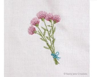 Machine embroidered pattern design flowers - instant download