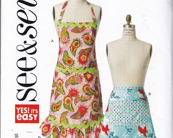 FREE US SHIP Butterick 5943 Out of Print Apron Sewing Pattern Miss Factory Folded Unused Brand new! Half Full Ruffle Flounce Hem