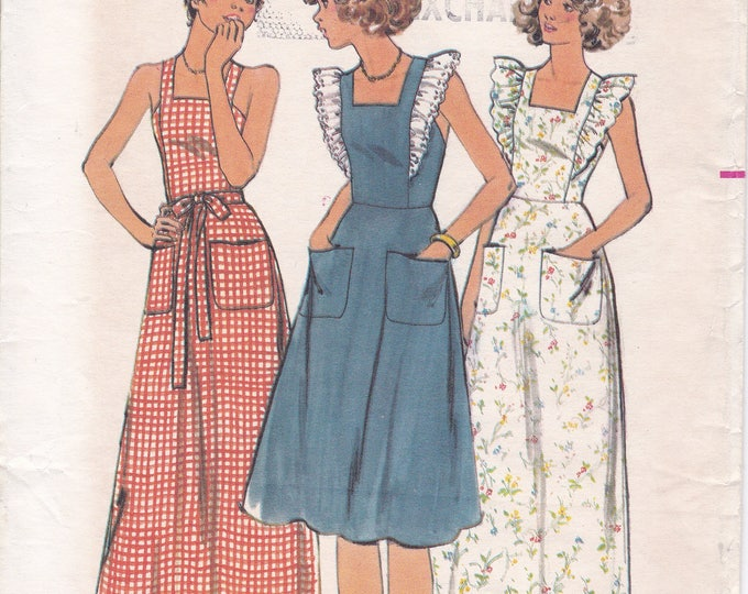 FREE US SHIP Butterick 4837 Sewing Pattern Uncut Vintage Retro 1970s 70s Pinafore Maxi Dress Back Button Straps Size 9/10 Bust 30.5 Jr