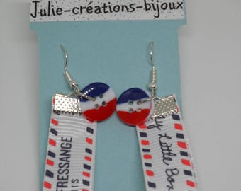 Ribbon and button earrings