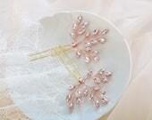 Bridal Hair pins, Rhinestone hair pins, Wedding headpiece, Rose Gold Hairpins, Silver hairpin, Crystal Hair Piece, Bridal Shower Gift