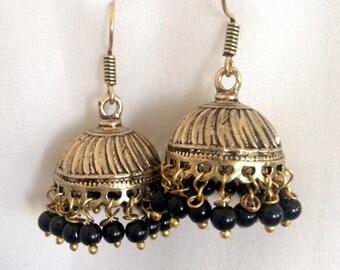 Black Jhumkas, Jhumka earrings, bollywood earrings, gold jhumki, indian earrings, black Indian earrings, Indian jewelry, black jhumka,