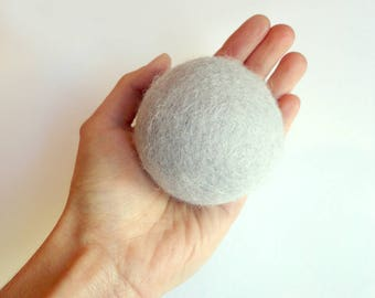 Cat toy big jumbo ball  - colorful, felted wool, Natural, silent, animalove
