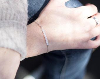 BRACELET Semi PRECIOUS Stones - Opaline - Minimalist - Stainless Chain - Custom Length Bracelet - Minimalist Jewelry - Opaline Stainless