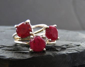 Plum Ruby Ring, raw ruby ring, natural ruby ring, genuine dark ruby ring, square ruby ring, ruby and silver, anniversary gift