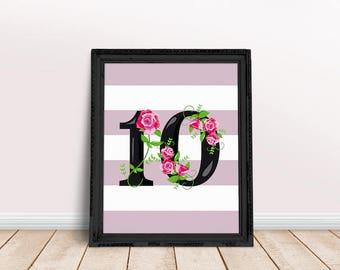 Nursery Number Ten | Ten Poster, Ten Number Art, Number Wall Art, Number Print, Nursery Age, Ten Year Old, Ten Years Old, Floral Number