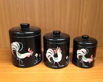 Ransburg Kitchen Canister Set, Black Canister Set Pink Rooster Motif, 3pc Hand Painted Canister Set