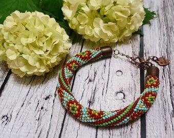 spiral oriental pattern seed bead rope spiral crocheted cord beadweaving beaded bracelet beaded jewelry bead bracelet green light blue brown
