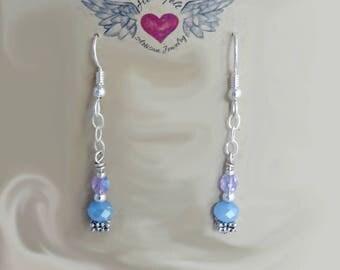 Dangle Crystal Earrings, Fine Glass Czech Bead Earrings, Drop and Dangle Earrings, Long Earrings, Chain Earrings, Gift for her, Popular Gift