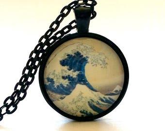 The Great Wave of Kanagawa | Glass Dome Necklace | Glass Pendant | Hokusai | Japanese Art