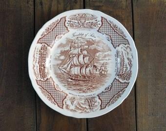Vintage Fair Winds 'The Friendship of Salem' Alfred Meakin Staffordshire Dinner Plate
