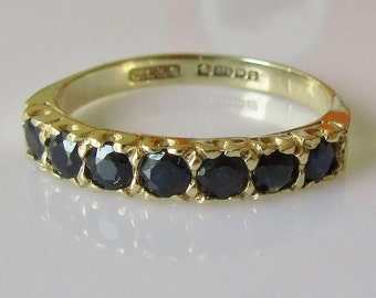 Vintage 9ct Gold Sapphire Seven Stone Ring