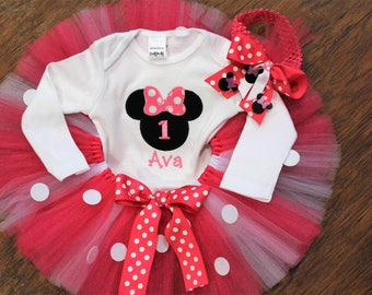 Minnie Mouse Birthday outfit, Baby Girl First birthday, Minnie Mouse 1st birthday,Personalized Birthday bodysuit,hot pink tutu,headband