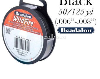Beadalon Wildfire BLACK Beading Thread - FREE SHIPPING