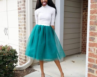 Tulle Midi Skirt with Metallic Gold or Silver  Waistband (Several Colors) XS - 6XL Plus Size