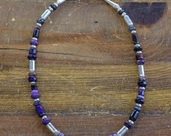 Vintage Sugilite Sterling Silver Necklace