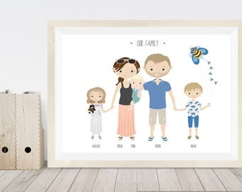 Personalised family print, family gift, custom portrait family illustration, cartoon portrait of family, personalised family portrait