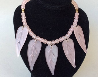 Frosted Pink Lucite Leaf and Beaded Necklace