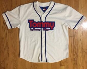 TOMMY HILFIGER Vintage Baseball Jersey RARE 1990s sz XLarge Sport Athletics