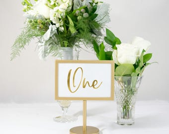 Gold Foil Table Number Cards for Photo Frames. Wedding, 4x6, also Available in Silver, Rose Gold, Copper. #0139