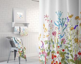unique floral extra long shower curtain flower shower curtain shabby chic bathroom decor cottage bathroom shabby