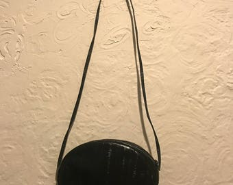 Vintage Handbag- Vintage Black Textured Circular Crossbody Bag