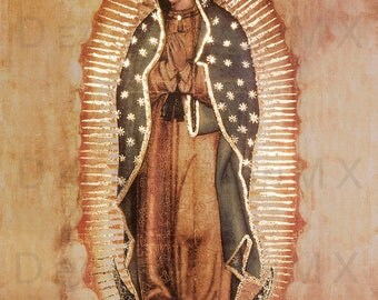 New! 8x10 inches REPLICA OF ORIGINAL Our Lady of Guadalupe Virgin Mary with golden Accents