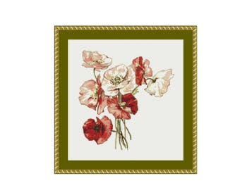Poppies Floral Counted Cross Stitch Pattern / Chart, Instant Digital Download  (AP212)
