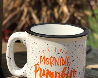 Morning Pumpkin || White || Campfire Mug || 15 ounce || Coffee Mug