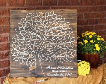 Leaf Guest Book Sign, Tree Guest Book Wedding, Wooden guestbook, Wedding Tree Guest Book, Engraved Guest Book, Rustic Wedding, Guest Tree