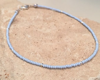 Blue ankle bracelet, seed bead anklet, sterling silver round anklet, body jewelry, boho anklet, dainty anklet, gift for her, gift for wife