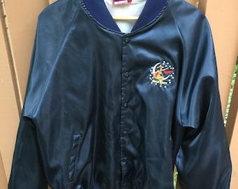 Vintage 90s Miller High Life Satin Jacket Size XL Lady Logo Embroidered