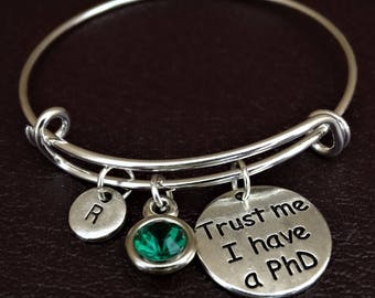 PhD Bracelet, PhD Bangle, PhD Charm, PhD Pendant, PhD Jewelry, PhD Gift, PhD Graduation, PhD Student, PhD Student Gift, Doctor of Philosophy