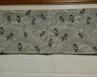 """Back Door Valance, Gray Birds On Branches, 35"""" wide x 11"""" long"""