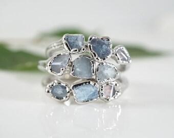 Raw Aquamarine Ring • Aquamarine Ring • Raw Crystal Ring • March Birthstone • Mermaid Ring • Gift for Women • Handmade • Bridesmaid Gift