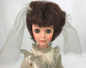 "Vintage Eegee Bride Doll 1963 15"" Tall, Brown Hair Sleepy Eye Doll, Original Dress & Veil, 1960s Fashion Doll, Collectible Doll"