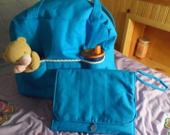 Blue Diaper Bag and Changing Pad