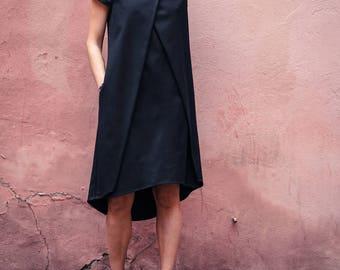 Black summer dress / Black designer dress / Black dress with short sleeves / Handmade dress / Designer dress