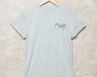 Pinky Promise Shirt Pinky Swear Shirts Pocket Tshirt Funny T-Shirt Gift for Friend Size S , M , L , XL , 2XL , 3XL Grey White
