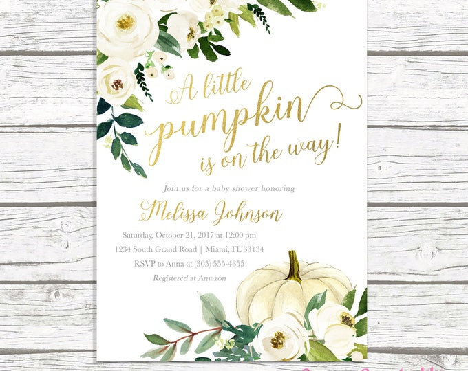 Fall Baby Shower Invitation, Pumpkin Baby Shower Invitation, Little Pumpkin is on the Way Invitation, Gender Neutral Baby Shower Invite