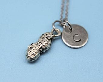 Silver Peanut Charm Necklace Peanut Necklace Peanut Charm Peanut Pendant  Initial Charm Initial Necklace