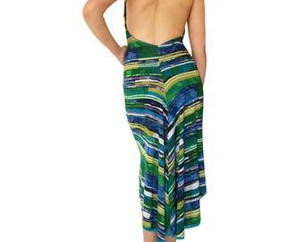 Turquoise-Green Stripe; Reversible Tango Dress; Fishtail Tango Dress; Milonga Dress